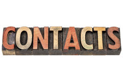 Contacts word in wood type Royalty Free Stock Photo