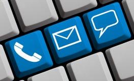 3 contactsymbolen met blauw computertoetsenbord Royalty-vrije Stock Foto's