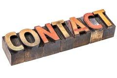 Contactwoord in uitstekend houten type Royalty-vrije Stock Foto's