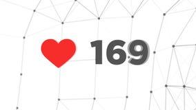 Contador animado de corazones rojos a 1000 gustos en el espacio 3d Cuenta de número para golpear mil con la red poligonal del ple stock de ilustración