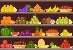 Contador com frutos supermarket ilustração stock