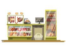 Contador da loja das salsichas do açougue da exposição lisa do vetor do suporte do produto da loja do supermercado Imagem de Stock