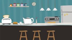 Contador de cozinha com bule, vaso de flor, vetor das crianças do torradeira ilustração stock