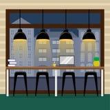 Contador de la barra en la ventana panorámica en el café Vuelo del pájaro - 1 ilustración del vector