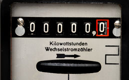 Contador de la electricidad Imágenes de archivo libres de regalías