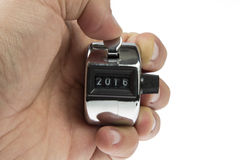 Contador de mano 2016 de la televisión Fotos de archivo