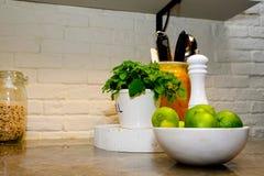 Contador de piedra con las cales, hierbabuena, molino de la cocina de pimienta, sano foto de archivo
