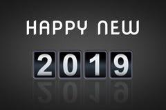 contador de tiempo contrario análogo de la cuenta descendiente del vintage del concepto de la Feliz Año Nuevo 2018 2019, contador Foto de archivo