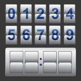Contador de tiempo de la cuenta descendiente, marcador mecánico del color blanco con diversos números Fotografía de archivo libre de regalías