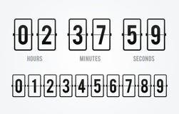 Contador de tiempo del contador de reloj de la cuenta descendiente del tablero del tirón del vector Marcador de la hora, de minut ilustración del vector