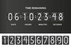Contador de tiempo del contador de reloj de la cuenta descendiente del tirón Mida el tiempo de la cuenta restante abajo suben con stock de ilustración