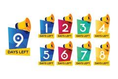 Contador de tiempo de los días, viniendo pronto concepto El sistema de días del número dejados la plantilla del ejemplo del vecto libre illustration