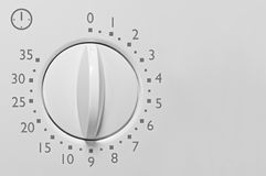 Contador de tiempo minucioso del horno de microondas del análogo 35, blanco análogo del vintage Imagenes de archivo