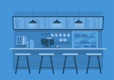Contador del café en fondo monótono azul del color stock de ilustración