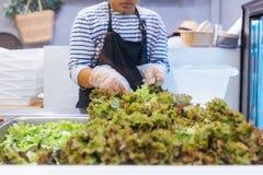Contador fresco del bufete de ensaladas con las manos de la persona que levantan lechuga en una placa para la comida sana y de la fotografía de archivo