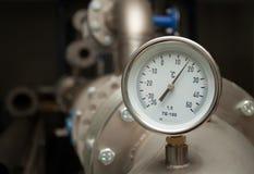 Contador industrial de la temperatura Foto de archivo