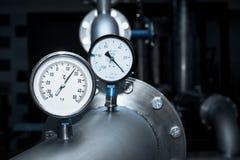 Contador industrial de la temperatura del agua Foto de archivo