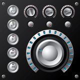Contador llevado azul del volumen con los botones de los multimedia Foto de archivo libre de regalías