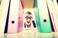 Contador louco feliz com as pilhas das pastas Imagem de Stock Royalty Free