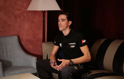Contador Trek team rider presentation Stock Image