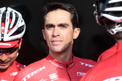 Contador Trek team training camp in Mallorca headshot during briefing Royalty Free Stock Photo