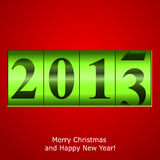Contador verde del Año Nuevo en fondo rojo Foto de archivo libre de regalías