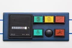 Contador y botones de la cabina de seguridad vieja Imagenes de archivo