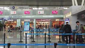 Contadores de enregistramiento en el aeropuerto internacional de Changsha almacen de metraje de vídeo