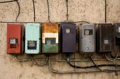 Contadores de la electricidad Foto de archivo libre de regalías