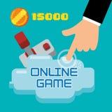 contagem da moeda do manche do toque da mão do jogo online ilustração stock