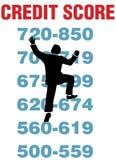 Contagem de crédito da escalada da pessoa do negócio melhor Fotografia de Stock Royalty Free