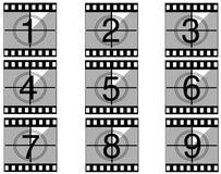 Contagem regressiva 02 da película Imagem de Stock