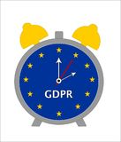 Contagem regressiva ao regulamento geral GDPR da proteção de dados - ilustração do despertador ilustração do vetor