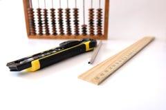 Contagens da escola da régua do lápis Fotografia de Stock Royalty Free