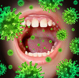 Contagious Disease. Transmitting a virus infection with an open human mouth spreading dangerous infectious germs and bacteria while coughing during a cold or Royalty Free Stock Photography