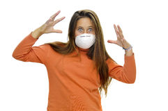 Contagious flu. Young girl with mask against flu, isolated in white stock image