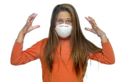 Contagious flu. Young girl with mask against flu, isolated in white royalty free stock images