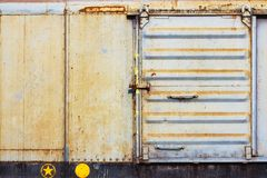 Container. Old container on railway outdoor Royalty Free Stock Images