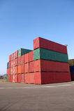 Container. In the busy container terminal Stock Image