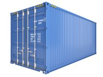 Container. Blue freight container isolated on white Royalty Free Stock Photography