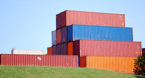 Container. Big stack of freight container cargo boxes Royalty Free Stock Images