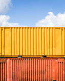 Container. Colorful cargo container in front of blue sky - with space for text Royalty Free Stock Photo