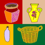Container. Artwork included a variety of home related object : vase, jug, basket. vector, illustration Stock Photo
