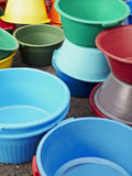 Container. Colorful plastic buckets on a market royalty free stock image