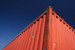 Container. Detail of a 40-feet, open top red cargo container Royalty Free Stock Photos