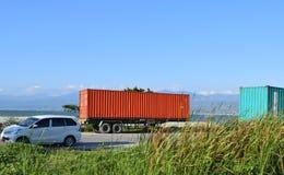 Container aan de kant van de weg royalty-vrije stock afbeelding