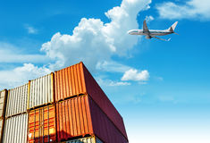 Container and aircraft on the dock Royalty Free Stock Photo