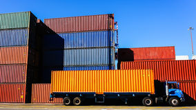 Free Container And Truck In The Port Stock Photos - 56186853