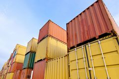 Container area. In the container storage area, we can see too much colorful stack Stock Photography