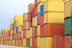 Container area in blue sky. In the container storage area, we can see too much colorful stack Royalty Free Stock Photo